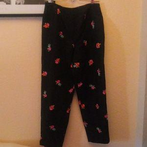 Black Floral Black Cropped Pants